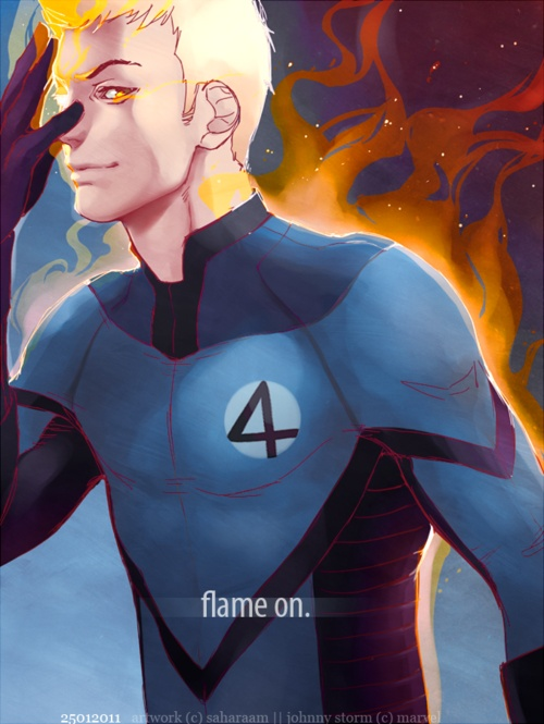 Flame on. Johnny Storm of the Fantastic Four.