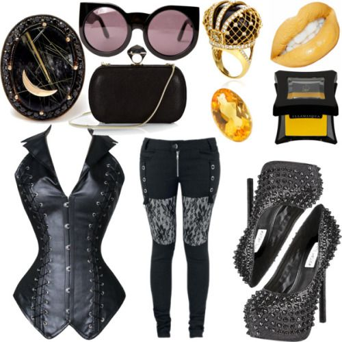 Rising Sun by obscura featuring mini makeup LovelyFish Women's Gothic Faux Leather Steel Boned Halter Collar…, £23 / Count Down / Steve Madden sexy pumps, £64 / DVF kiss lock purse / Gold jewellery, £19,825 / Andrea Fohrman oval ring / Loquet yellow...