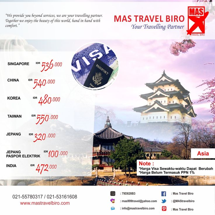 Selain tiket pesawat, paket tour, dan hotel. kami bisa membantu travelers dalam pembuatan paspor dan visa . Ingin membuat Visa Asia ? Info: 021-55780317 / 021-53161608