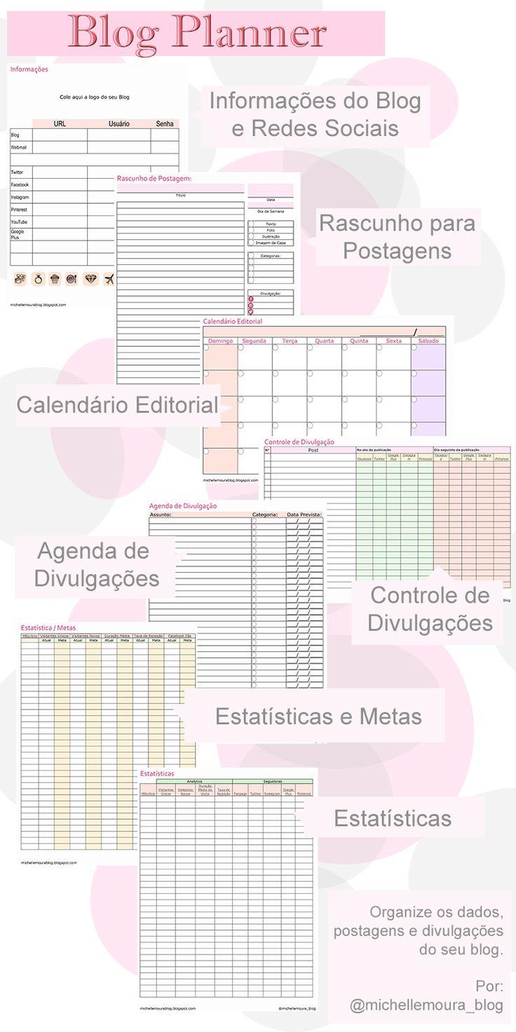 Criado por @michellemoura_blog, disponivel para download em: http://michellemourablog.blogspot.com.br/2016/05/blog-planner-para-baixar.html