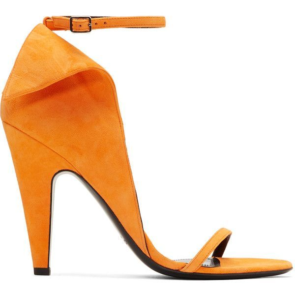 Calvin Klein 205W39NYC Orange Suede Carmin Sandals (23.700.480 VND) ❤ liked on Polyvore featuring shoes, sandals, orange, adjustable sandals, suede sandals, leather sole sandals, adjustable shoes and suede leather shoes