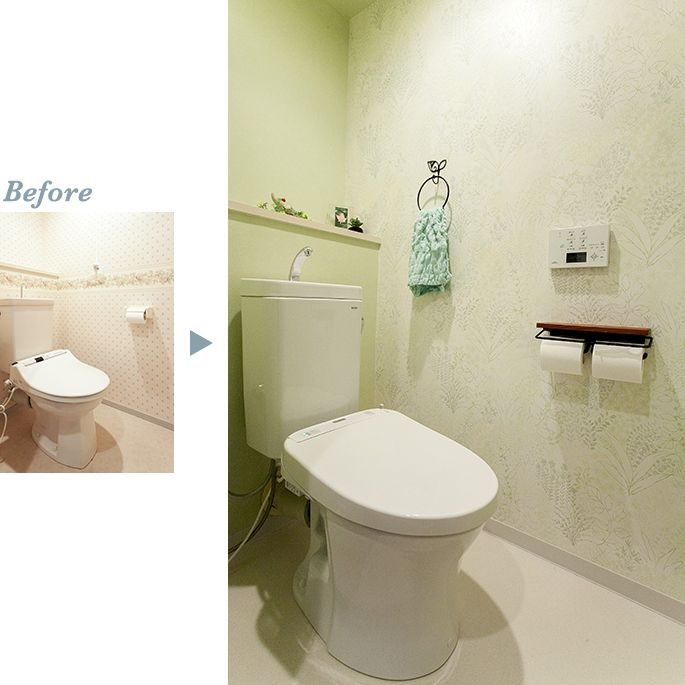 トイレ の 壁紙 を張替えイメージ一新させました 手描きのボタニカル