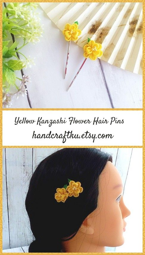 Kanzashi Flower Hair Pins, Yellow Flower, Hair Clips, Floral Head Piece, Wedding Floral Accessories, Bride Bridesmaid Hair, Silk Flowers  #kanzashi #kanzashiflower #tsumamizaiku #tsumamikanzashi #flowerhairpin #floralhairpiece #yellowflowers #bridalhair #promhair #hairaccessories #giftsforher #etsy #etsyseller #etsyfinds