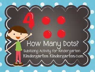 """""""How Many Dots?"""" Subitizing Activity for Kindergarten (free; from Kindergarten Kindergarten)"""