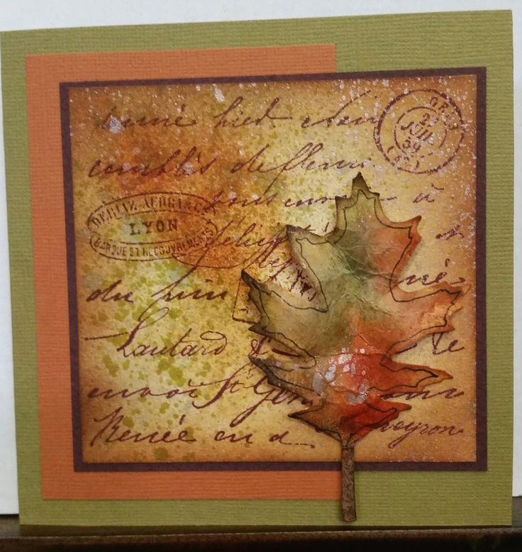 """""""Old Letter"""" CG197 by Hero Arts. Sizzix Tattered Leaves Die 656927. Card by Susan of Art Attic Studio"""