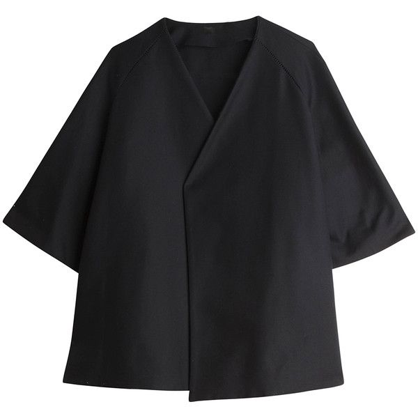 THE ROW Kimono Jacket (11054050 PYG) ❤ liked on Polyvore featuring outerwear, jackets, coats, coats & jackets, tops, stitch jacket and kimono jacket