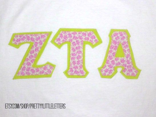 zeta tau alpha zta stitched greek sorority applique With zta stitched letter shirts