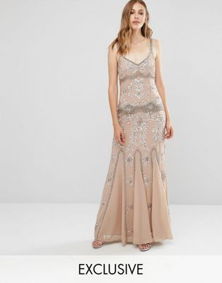Maya Delicate Embellished Maxi Dress with Fishtail