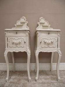 Rococo style antique French bedside tables, circa 1900. This is EXACTLY what I'm looking for right now!