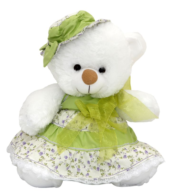 This pretty Bear wearing a floral print dress and matching hat is a classic perfect gift for any occasion.Find more > www.much.gr #teddy #bear #romantic