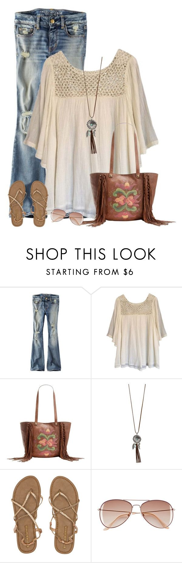 """Farmers Market Outfit"" by cindycook10 ❤ liked on Polyvore featuring American Eagle Outfitters, Haute Hippie, Patricia Nash, Charlotte Russe, Billabong and H&M"