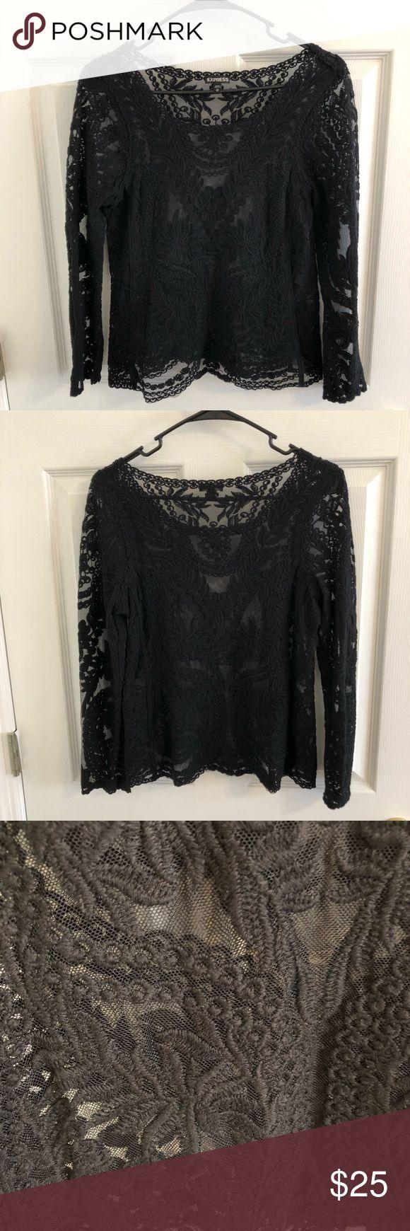 Express Sheer Black Crochet Top XS Beautiful sheer black crochet lace top from Express. Size XS. Express Tops Blouses