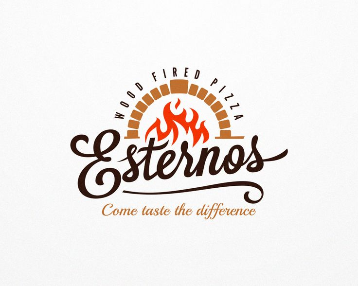 Wood fired pizza logo Logo design