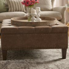 Madison Park Lindsey Leather Tufted Square Cocktail Ottoman