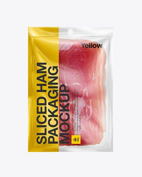 Plastic Vacuum Bag W/ Ham Mockup. Preview