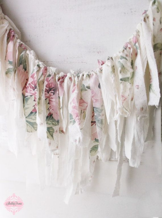 Pink Shabby Chic Roses Fabric Garland. Romantic by ShabbyPeonie