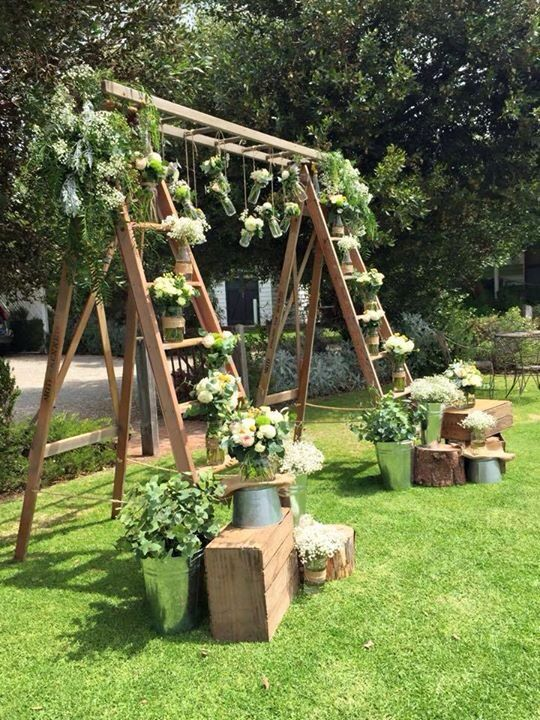 Ladder backdrop setup at Middleton beach huts. Beautifully decorated by pure flower designs for adelaide weddings