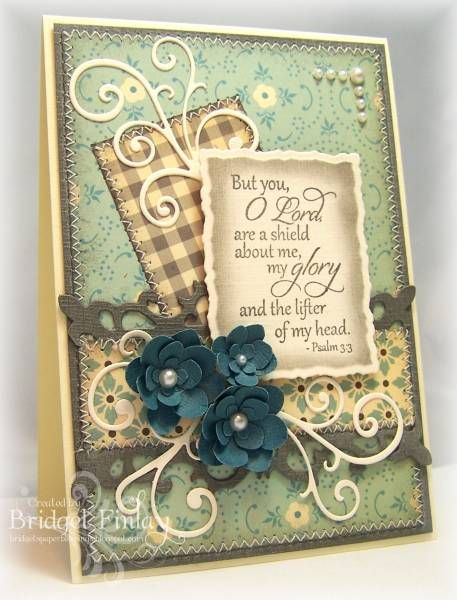 Pretty card! I love the flowers and the plaid paper in the background!