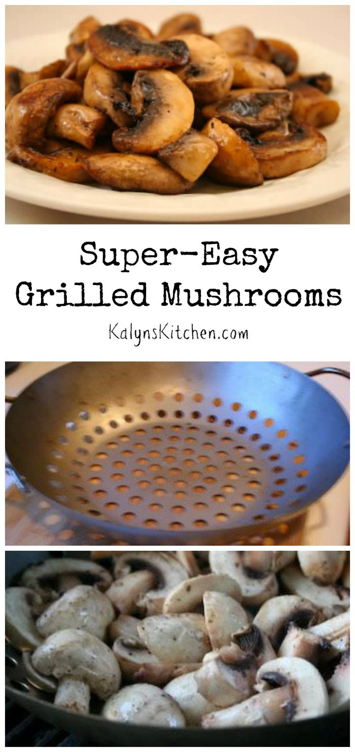 It doesn't get much easier or more delicious than these Super-Easy Grilled Mushrooms with only 2 ingredients!  If you make these for a summer holiday party or pot-luck, I promise they'll be a hit. #LowCarb #GlutenFree #CanBePaleo [from KalynsKitchen.com]