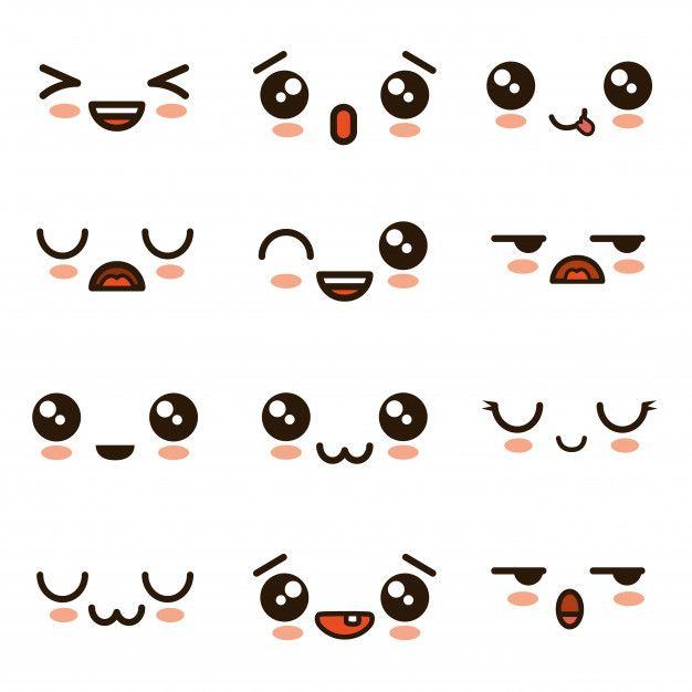 Cute Faces Kawaii Emoji Cartoon Premium Vector Cute Kawaii Drawings Kawaii Doodles Cute Eyes Drawing