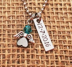 Date - Mom - This is a great gift for any mommy of an angel - hypoallergenic stainless steel -Swarovski Crystal - hand stamped - Remembrance - Memorial - Infant Loss - Miscarriage - Loss - Death - personalized - custom - small business - SIDs Awareness - Pregnancy Loss Necklace - Angel Wing - Baby Feet - keepsake - Angel Babies - Baby - Beautiful - Encouragement - Encourage - memory piece - help - peace - grace - tears - recovering