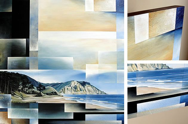 Enlarged details of this seascape painting can be seen to the right. All of the straight lines were created using masking tape.