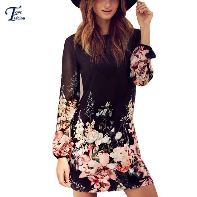 Women Spring Style 2016 Newest Shift Dresses Beautiful Black Long Sleeve Floral Print Round Neck Chiffon Short Dress