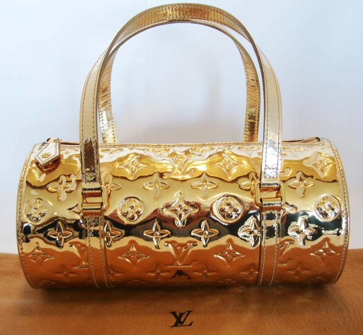 Authentic louis vuitton gold mirror miroir papillon bag for Louis vuitton miroir replica