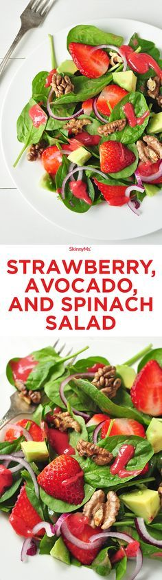 The salad itself is made up of spinach, strawberries, avocado, walnuts, red onions, and some crumbly blue cheese. The dressing on top is a blend of apple cider vinegar, strawberries, honey, Kosher salt, and olive oil. It's the perfect balance of light flavors.