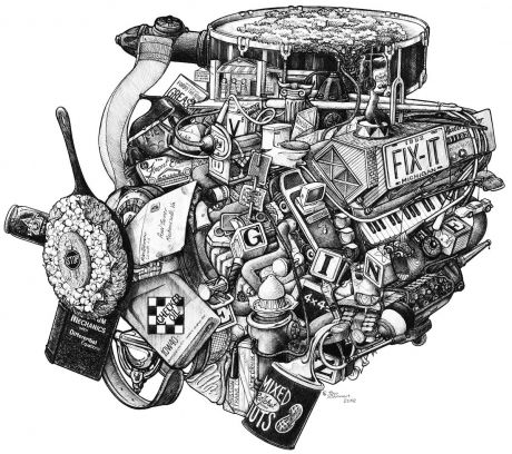 V- 8 ENGINE: Pop the hood to find the Knock,  Rattle, Racquet, Turnover,  Nuts, Horn, Keys, Juice, Jack, Driver, Flush, File, Rings, Seal, Trunk, Tank, Tire, Wheel, Spare,  Grease Monkey, Starter, Oil Pan, Crank Case, Shade Tree, Drive-In, Dealer Ship, Horse Power, Distributor, Timing Belt, Engine Blocks, Auto Mobile, Auto Club, Injection System, On Board Computer, Shoes (with Matching Clutch), Boot, Hoses, Filters, Radiator, 4 Barrels, 8 Plugs, and a real Lemon.
