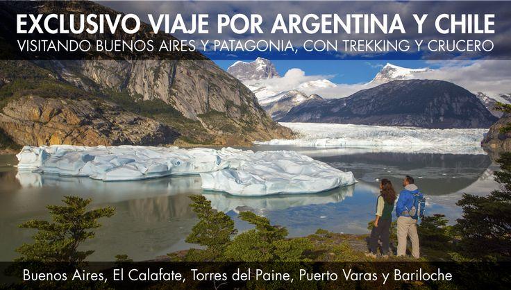 Un #viaje de 17 días/16 noches, que combina el #relax con #excursiones activas, el #disfrute de la #naturaleza de #Patagonia #chilena y #argentina, con la ciudad de Buenos Aires. Dos días de #navegación entre #glaciares milenarios a bordo de un #crucero de #lujo, con gastronomía de primer nivel; #trekking en el reconocido #ParqueNacional Chileno #TorresdePaine; cruce de #lagos y llegada a #Bariloche, un viaje que recordará por siempre. Consúltenos y empiece a #viajar!
