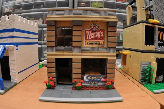 LEGO City Fast Food Hamburger Restaurant Open Late via Etsy