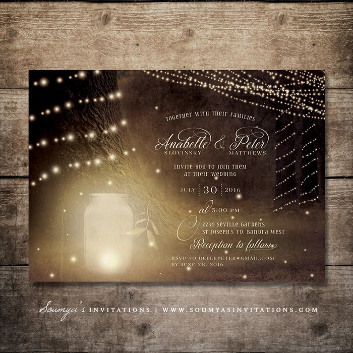 Enchanted Forest Wedding Invitation, Fireflies Rustic Garden Lights Wedding…