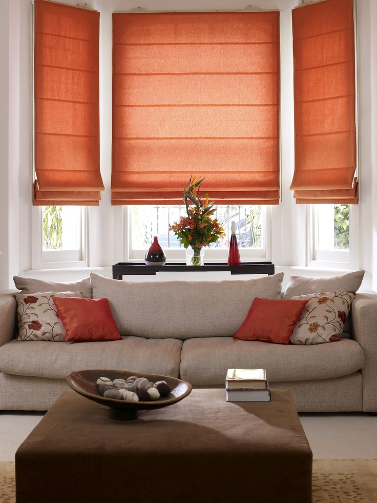 Mesmerizing decorations living room orange interior shade for Living room window blinds