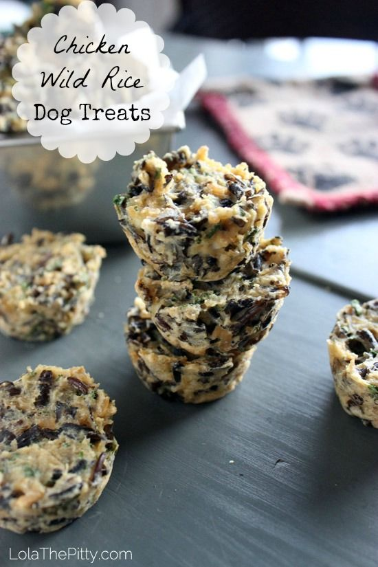 Chicken Wild Rice Dog Treat Recipe! I love this recipe because it's super simple to through together, is healthy and Lola & Rio went nuts over them! A must-make. http://www.lolathepitty.com/chicken-wild-rice-dog-treat-recipe/