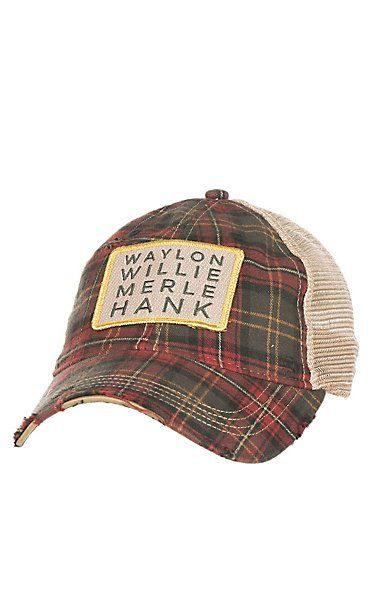 Judith March Green and Red Plaid with Gold Embroidered Waylon Willie Merle Hank and Tan Mesh Back Snap Back Cap | Cavender's