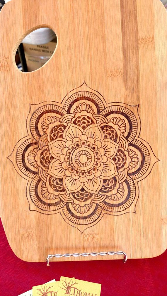 Mandala bamboo cutting board. 9x12. Handmade by LThomasDesigns