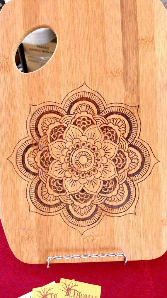 Mandala bamboo cutting board. 9x12. Handmade by LThomasDesigns