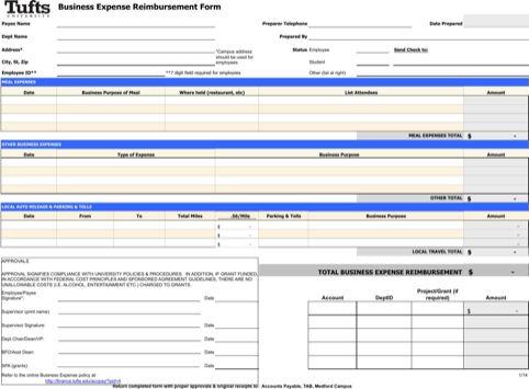 Business Expense Reimbursement Form