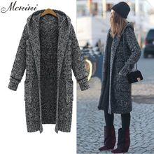 MCKIKI 2016 зимние дамы элегантный 5 xl супер длинный большой ярдов утолщение свитер с капюшоном кардиган тонкий шерстяной женщин Черное пальто(China (Mainland))