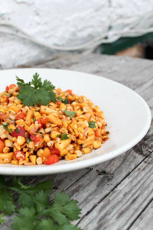 grilled corn and peach salsa - a summery blend to either beat the heat ...