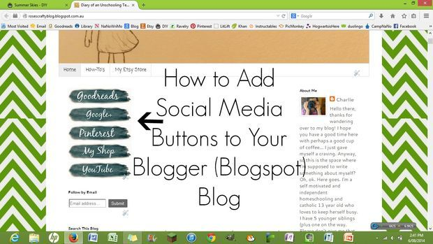 how to add social media share buttons to blogger