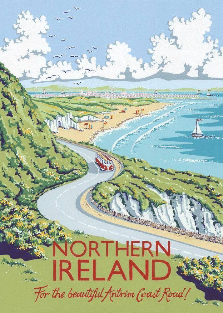 Vintage Travel Poster For Northern Ireland Travel Posters Vintage Travel Posters Travel Book Design