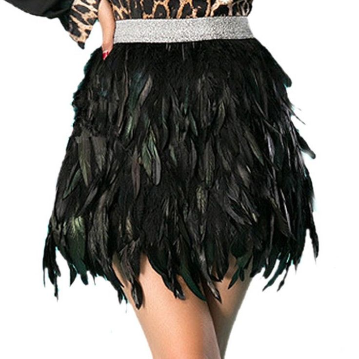 Women s Black Sexy Short Mini Skirts Peacock Feather Party Cosplay Costume FN110