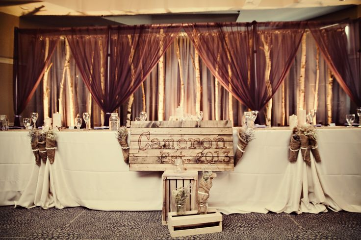 rustic wedding birch tree backdrops | Tammy and Jason's head table with our rustic birch tree backdrop.