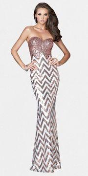 shopstyle.com: Strapless Sequin Chevron Pattern Prom Dresses by La Femme