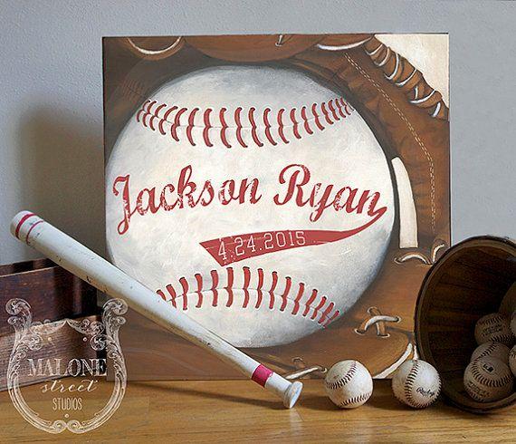 Impresión Giclée Canvas  béisbol Vintage por MaloneStreetStudios
