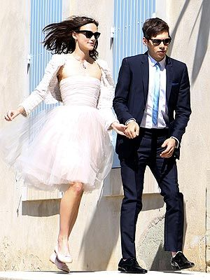 I would not wear this for a wedding, but IN LOVE with the idea of a fluffy tulle dress and a Chanel jacket with flats!