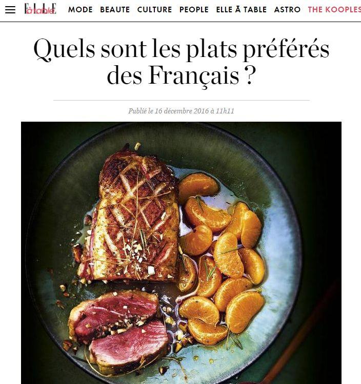 Elle.fr dresse le palmarès des plats préférés des Français : le #magret de canard arrive en tête !!!