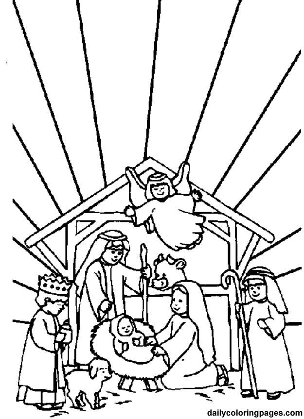 Nativity Scene Bible Coloring Sheets 01